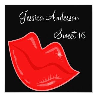 Dulce 16 labios rojos brillantes del cumpleaños en invitación 13,3 cm x 13,3cm