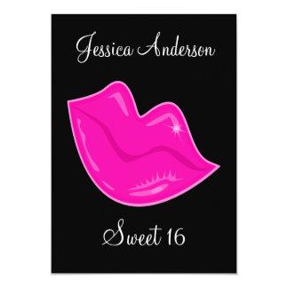 Dulce 16 labios rosados bonitos del cumpleaños en invitación 12,7 x 17,8 cm