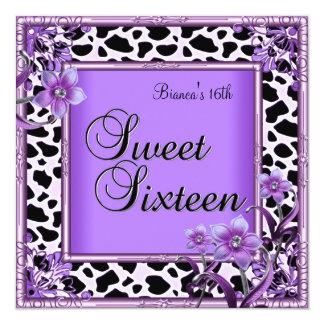 Dulce 16 negro púrpura de la flor de dieciséis invitación 13,3 cm x 13,3cm