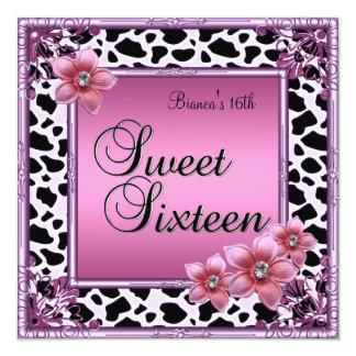 Dulce 16 negro rosado del rosa de la flor de invitación 13,3 cm x 13,3cm