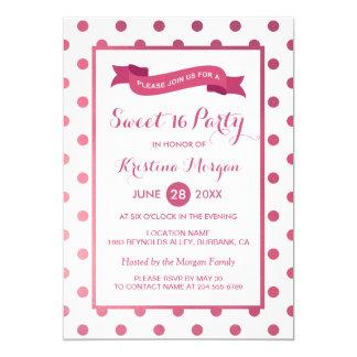 Dulce 16 puntos rosados femeninos de Polk del Invitación 12,7 X 17,8 Cm