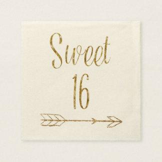 Dulce 16 torta de la flecha del brillo del oro de servilleta de papel