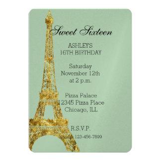 Dulce atractivo dieciséis de la torre Eiffel del Invitación 12,7 X 17,8 Cm