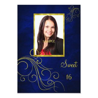 Dulce azul 16 de la foto del remolino del oro invitación
