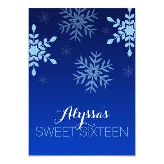 Dulce azul 16 de los copos de nieve del país de invitación 11,4 x 15,8 cm