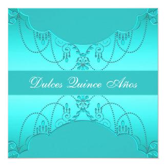 Dulce azul quince Quinceanera del trullo Invitación 13,3 Cm X 13,3cm