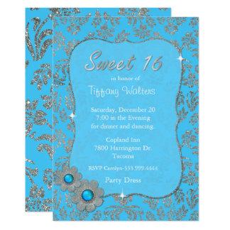 Dulce azul y de plata invitación de 16 cumpleaños