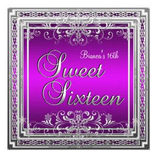 Dulce chica adolescente de plata púrpura de diecis anuncio