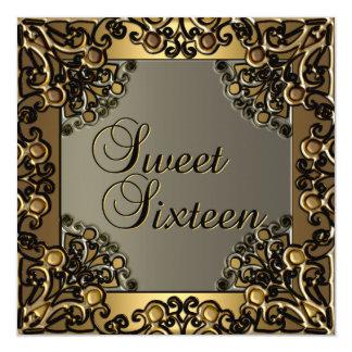 Dulce chica adolescente del oro negro del oro de invitación 13,3 cm x 13,3cm