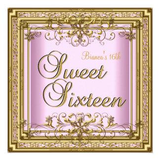 Dulce chica adolescente del oro rosado de dieciséi invitacion personalizada