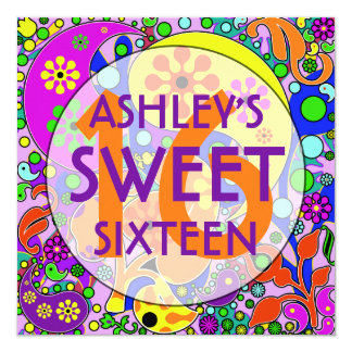 Dulce colorido 16 invitaciones de la fiesta de invitación 13,3 cm x 13,3cm
