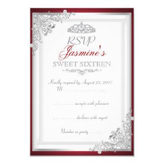 Dulce de plata rojo 16 de la tiara del damasco de invitación 8,9 x 12,7 cm