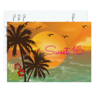 Dulce dieciséis, invitación tropical, hawaiana de