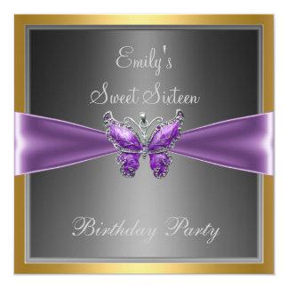 Dulce dieciséis mariposa 2 de 16 púrpuras invitación 13,3 cm x 13,3cm