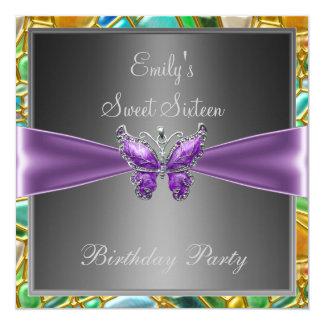 Dulce dieciséis mariposa de 16 púrpuras invitación 13,3 cm x 13,3cm