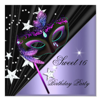 Dulce dieciséis máscara de plata negra de 16 lilas invitación 13,3 cm x 13,3cm
