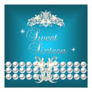 Dulce dieciséis perla blanca azul del trullo de 16 invitación 13,3 cm x 13,3cm