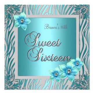 Dulce dieciséis plata azul del azul de la flor de invitación