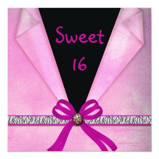 Dulce doblado rosado y negro 16 del estampado de invitación 13,3 cm x 13,3cm