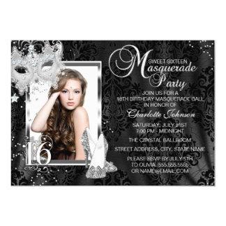 Dulce elegante 16 de la foto de la mascarada de la invitación 12,7 x 17,8 cm