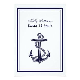 Dulce enmarcado azules marinos náuticos 2V 16 del Invitación 12,7 X 17,8 Cm