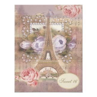 Dulce floral 16 de la torre Eiffel elegante Invitación 10,8 X 13,9 Cm