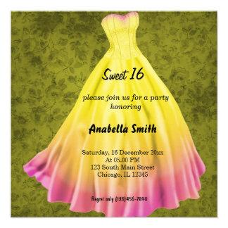 Dulce largo 16 (amarillo) del vestido comunicado