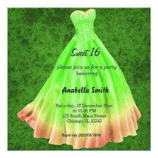 Dulce largo 16 (verde) del vestido comunicado