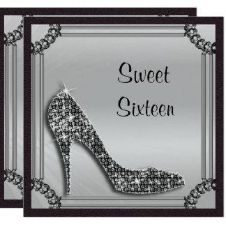 Dulce negro enmarcado plata elegante 16 del invitación 13,3 cm x 13,3cm