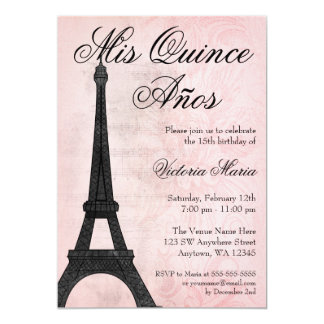 Dulce negro rosado 15 Quinceanera de París del Invitación 12,7 X 17,8 Cm