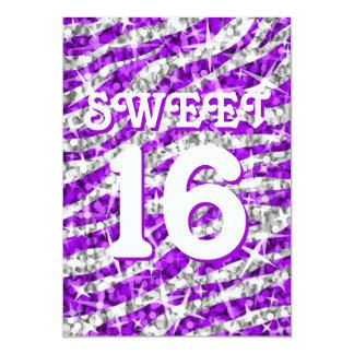"Dulce púrpura 16"" de la cebra del Glitz Invitación 12,7 X 17,8 Cm"