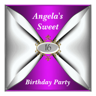 Dulce púrpura de la invitación de 16 cumpleaños