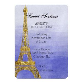 Dulce púrpura dieciséis de la torre Eiffel de la Invitación 12,7 X 17,8 Cm