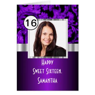 Dulce púrpura y negro dieciséis del damasco tarjeta de felicitación