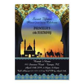 Dulce quince, cumpleaños, invitación, noche árabe invitación 12,7 x 17,8 cm