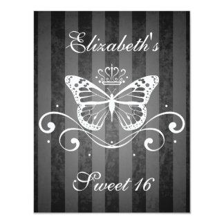 Dulce real blanco elegante 16 de la mariposa invitación 10,8 x 13,9 cm