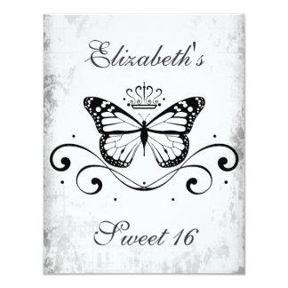 Dulce real negro elegante 16 de la mariposa invitación 10,8 x 13,9 cm