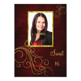 Dulce rojo 16 de la foto del remolino del oro invitación 12,7 x 17,8 cm