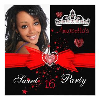 Dulce rojo foto de la tiara del diamante de 16 invitación 13,3 cm x 13,3cm
