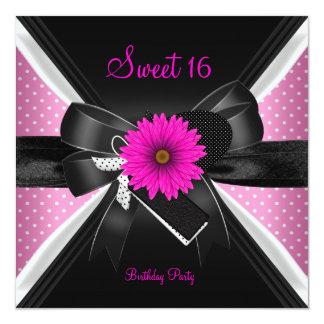 Dulce rosa blanco 2 del negro del lunar de 16 invitación 13,3 cm x 13,3cm