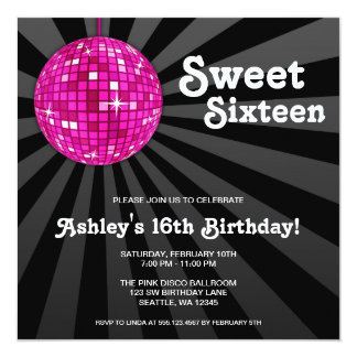 Dulce rosado de la bola de discoteca 16 invitación 13,3 cm x 13,3cm
