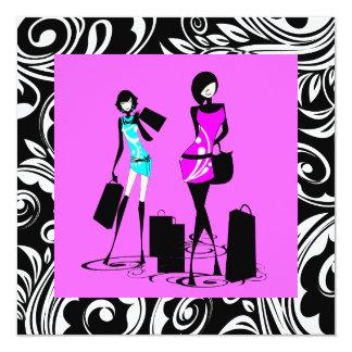 Dulce rosado negro dieciséis de los chicas invitación 13,3 cm x 13,3cm