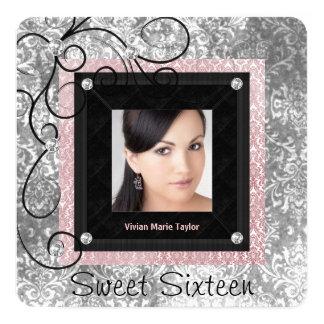 Dulce rosado y negro de plata 16 del damasco invitación 13,3 cm x 13,3cm