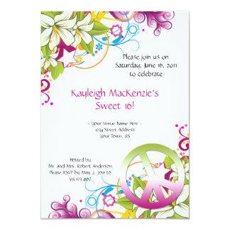 Dulce rosado y verde 16 del signo de la paz de las invitación 12,7 x 17,8 cm