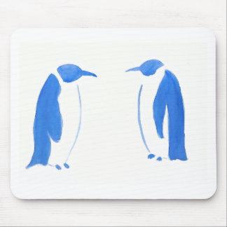 Dúo azul del pingüino alfombrilla de ratón