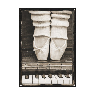 Dúo del ballet del piano pequeño impresiones en lona