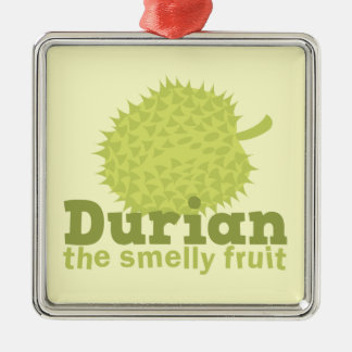 Durian la fruta hedionda (de Asia sudoriental) Adorno Cuadrado Plateado