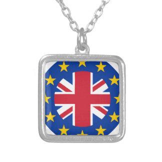 E. - bandera de unión europea - Union Jack Collar Plateado