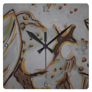 Eagle amarillo reloj cuadrado
