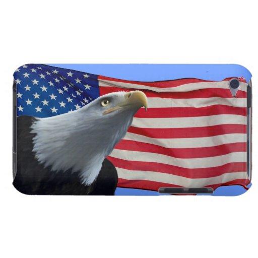 Eagle calvo americano y caja patriótica del teléfo barely there iPod protectores